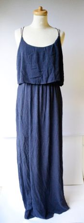 Sukienka Granatowa Maxi Long Pimkie L 40 Falbanka Długa Zara H&M