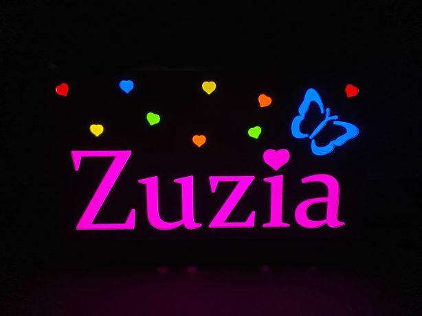 Napis świetlny z imieniem ZUZIA do pokoju dziecięcego