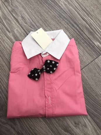 Koszula różowa z muszką mucha 122cm i 152 cm