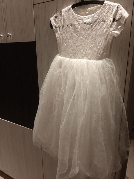 Sukienka księżniczka biała ecru balowa tiul 152-158