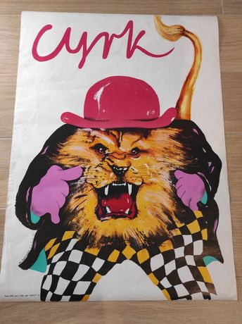 Plakat cyrkowy, lew! Rok '85.