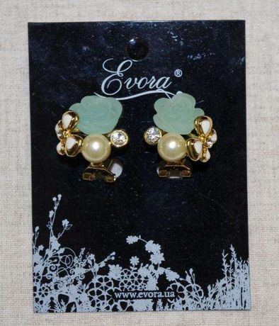 Серьги Evora Новые Золотистого Цвета С Зеленым Цветочком И Бусинами