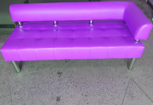 Новый офисный диван для офиса без подлокотника - фиолетовый цвет