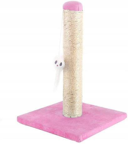 DRAPAK słupek wieża sizal DLA KOTA KOTÓW z zabawką kwadrat różowy