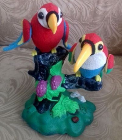 Попугаи повторюшки, машут крыльями, звуки птиц