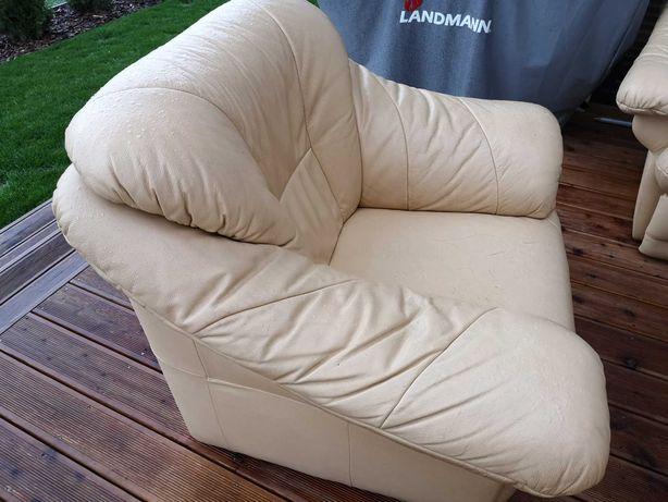 Wypoczynek skórzany sofa + fotele + ława