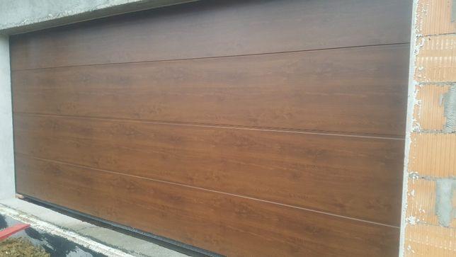 Segmentowa brama garażowa WIŚNIOWSKI z automatem, ORZECH! 250x220cm