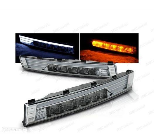 PISCAS FRONTAIS LED COM LUZ DIURNA VW PASSAT B6 05-10 CHROME CROMADO
