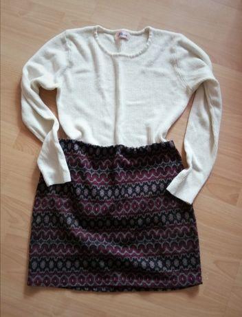 Spódniczka mini+sweterek, rozmiar M