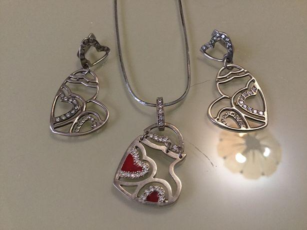 Серьги серебряные сережки кульчики срібло кулон набор