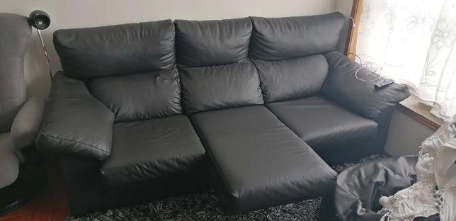 sofá 3 lugares extensiveis em pele sintética