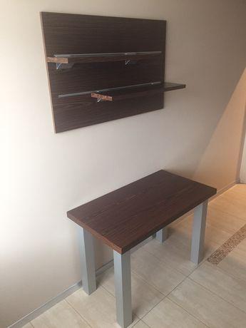 Stół kuchenny plus panel z półkami