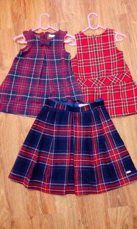Sukienka 92/98 spodnica 36 w kratke,mama&corka,f&f,czerwona,granatowa
