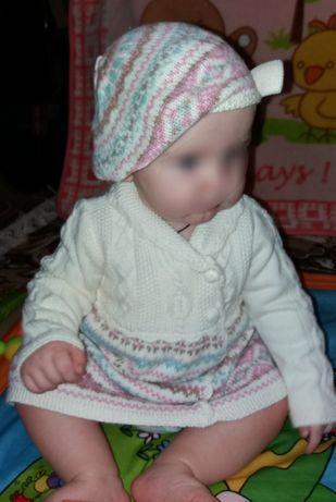 Вязаное платье на девочку до 2х лет