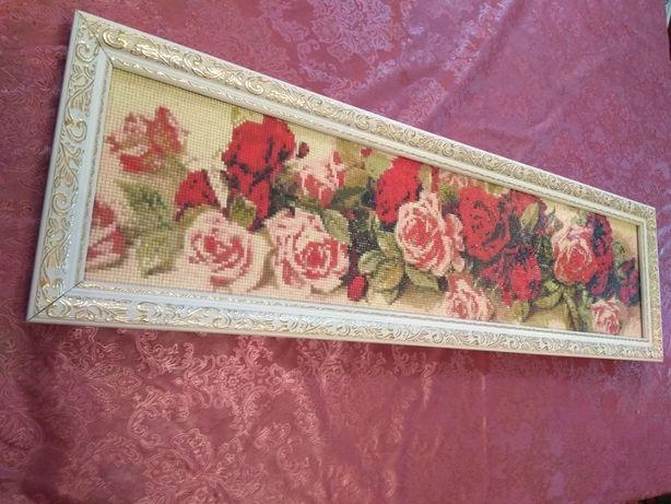 Картина Розы алмазная вышивка 17408 страз.