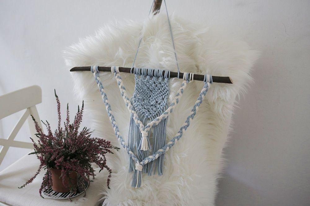 Makrama boho hand made diy ręcznie robiona folk ozdoba ścienna warkocz Olsztyn - image 1