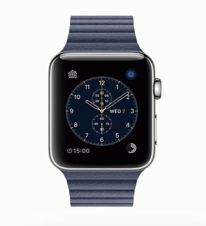 Apple Watch Series 2 42mm Stainless Steel Case with Midnight Blue Leat