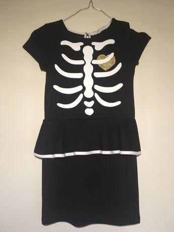 Sukienka 122/128 stroj karnawałowy czarna szkielet