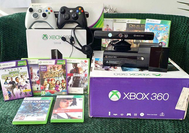 Xbox 360E 500Gb +Kinect +2xPad +Gry, Duży zestaw [szybka wysyłka 5 zł]