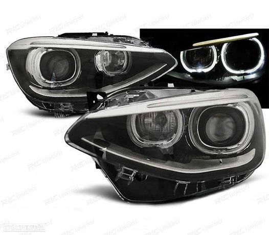 OTICAS FRONTAIS BMW SERIE 1 F20/21 OLHOS DE ANGEL LED FUNDO PRETO