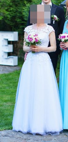 Suknia ślubna literka A xs/s/ małe m + welon