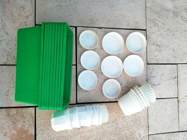 Doniczka skrzynka balkonowa 40cm zielona x9 + 11 białych doniczek