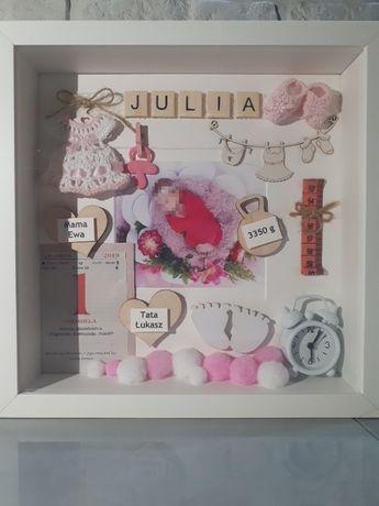 Metryczka z okazji narodzin dla dziewczynki ze zdjęciem