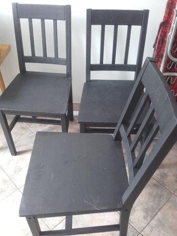 Komplet 3 szt. krzeseł - Ikea pomalowane na czarno