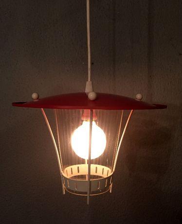 Lanterna de suspenção em vermelho e branco anos 50