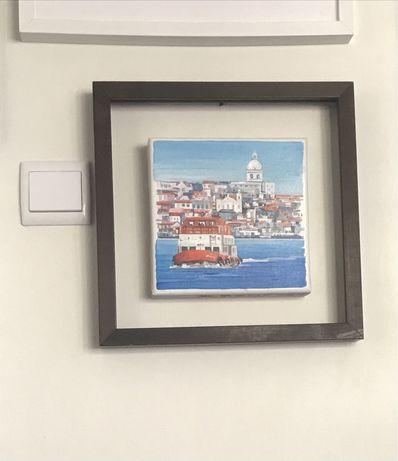 Tela Cacilheiro Lisboa pintor Romanov oleo