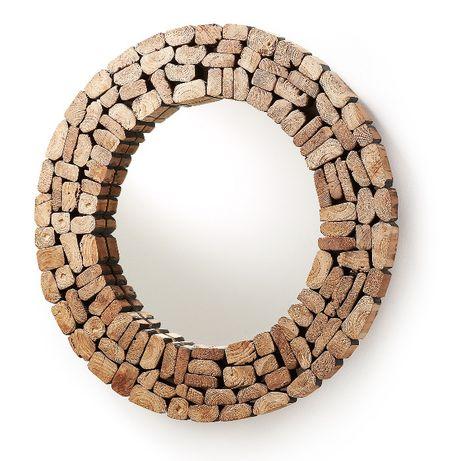 Espelho Redondo Madeira Reclaimed Wood Mirror -NOVO by OVO HOME DESIGN