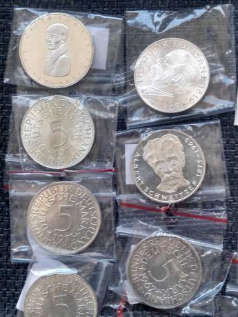 Zestaw srebrnych monet. Niemcy.