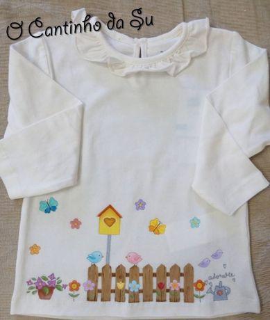 Camisola de menina pintada à mão - 12-18m