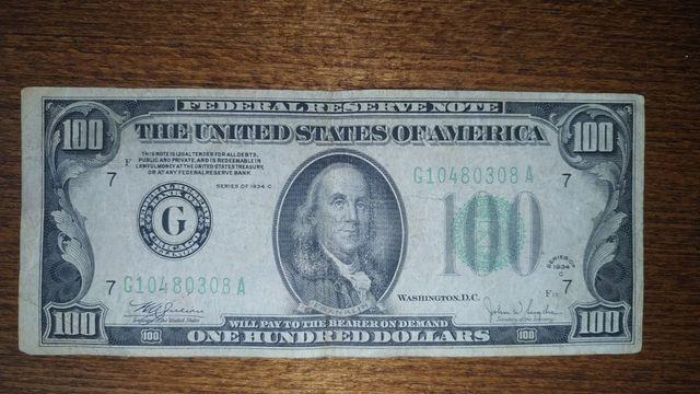 100$ 1934року! 100доларів USD
