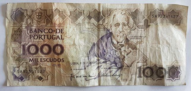 Nota de 1000 Escudos 1992 Teófilo Braga