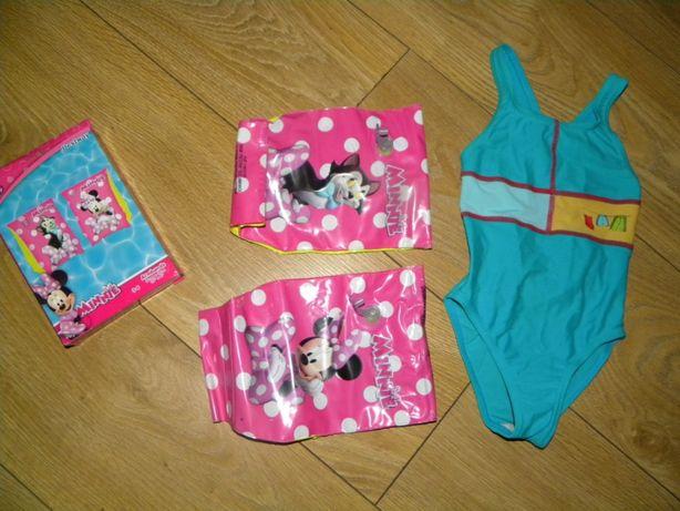 Nowe rękawki do wody Minnie i strój kąpielowy Adidas, r.98 zestaw