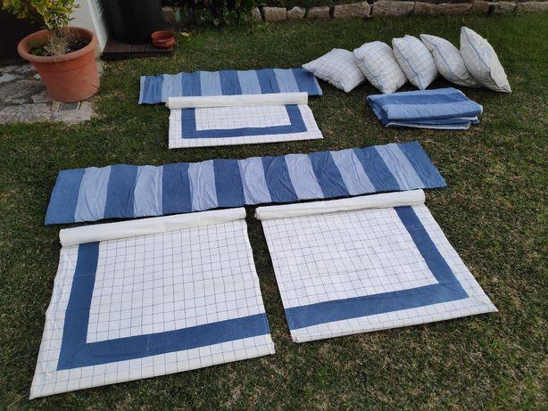 Conjunto colcha, almofadas e cortinas
