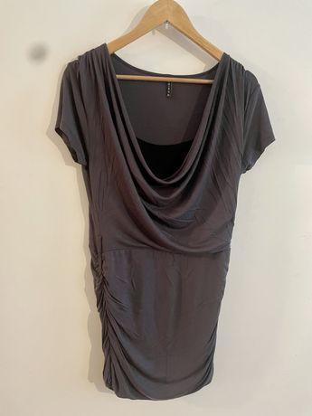Tunika / krótka sukienka AMISU wiskoza. Ciemnoszary. Rozmiar 42 XL. pa