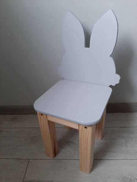 Krzesełko Królik Zajączek Bunny drewniane dla dzieci