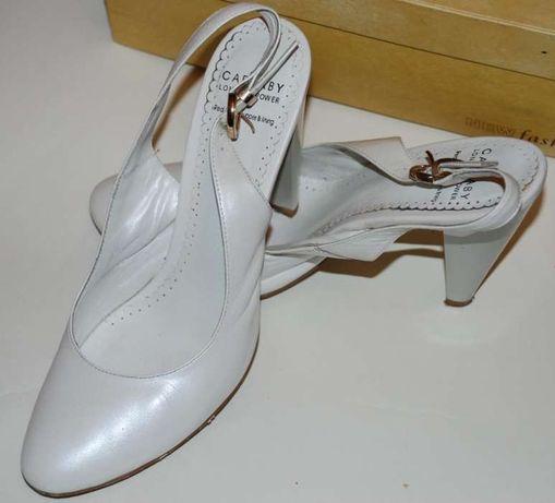 Нарядные туфли белые, перламутровые carnabi, карнаби, натур. кожа, 38р