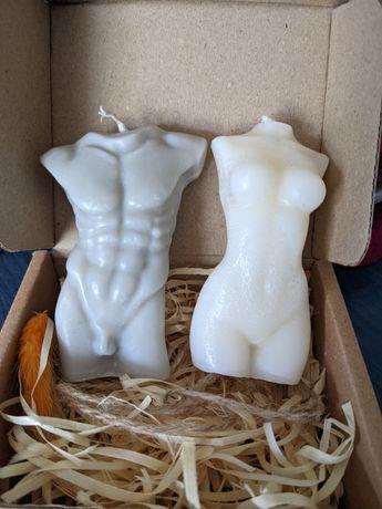 Свечи из соевого воска набор женская и мужская фигуры