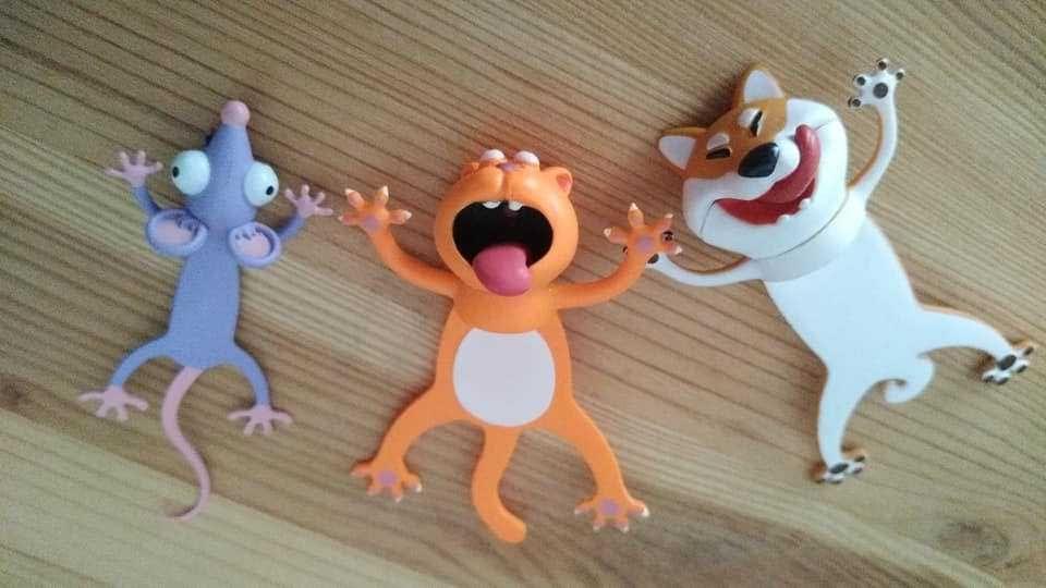 Marcadores de livros 3D. Rato, gato e cão.