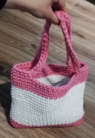 Torebka sznurek handmade różowa biała A4 szydełko rękodzieło
