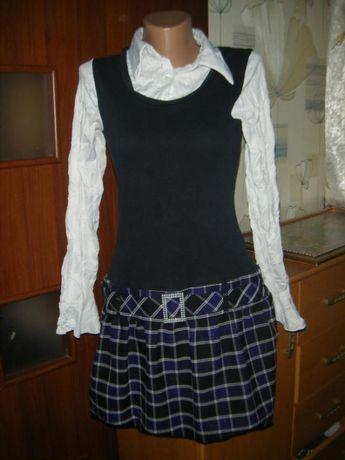 Шикарное комбинированное платье с длинным рукавом на девочку 13-14 лет