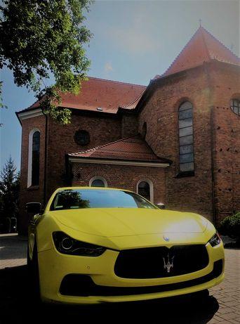 Żółty mat Maserati Ghibli. Jedyny taki samochód w Polsce do ślubu!!