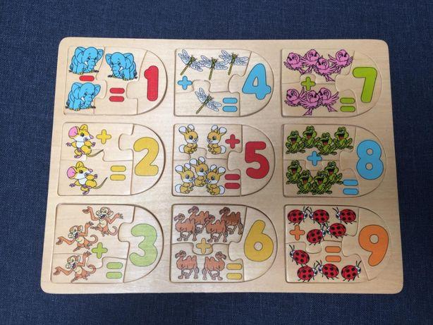 drewniana układanka nauka dodawania puzzle