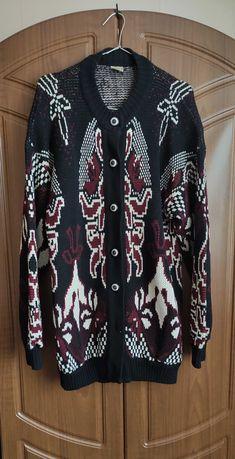 Кардиган женский тёплый длинный чёрный с узором винтаж ретро