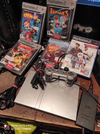 Konsola ps2 slim SREBRNA, PlayStation slim 2 pady karta pamięci gry