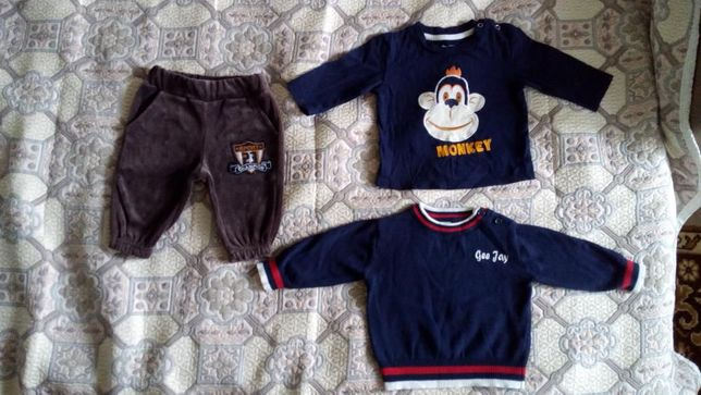 Комплект 3-6 мес., 68 р.: реглан (футболка), свитер (джемпер), штаны