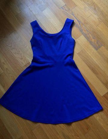SUKIENKA niebieska mini rozkloszowana 38